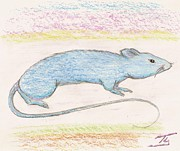 Science Fiction Drawings - Blue Mouse by Ty Walsh Trez
