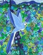 Carla s  Designs - Blue N Green Left Bird