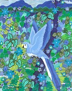 Carla s  Designs - Blue N Green Right Bird