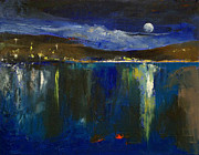 Luna Painting Posters - Blue Nocturne Poster by Michael Creese