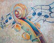 Musical Notes Painting Originals - Blue Notes - Cello Scroll in Blues by Susanne Clark
