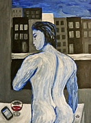 Depressed Painting Posters - Blue Nude Contemplating Poster by Victoria Lakes