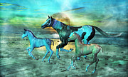 Scene Mixed Media Posters - Blue Ocean Horses Poster by Betsy A Cutler East Coast Barrier Islands