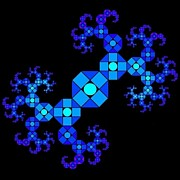 Shrooms Digital Art - Blue Octagon Fractal by Chris Tetreault