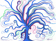 Fantasy Tree Art Drawings Prints - Blue October Tree Print by Nina Kuriloff