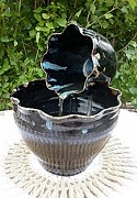 Pottery Water Fountain Sculptures - Blue on Black Pottery Water Faountain by Yvonne Cacy