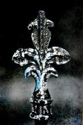 Fleur De Lis Art - Blue on Black by Scott Pellegrin