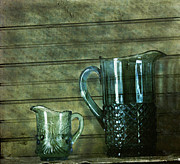 Old Pitcher Framed Prints - Blue Opalescent Glass and Pitcher Framed Print by Claudette DeRossett