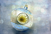 Christmas Ornament Posters - Blue Ornament Poster by Cindi Ressler