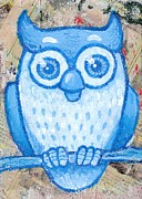 Rural Living Drawings Posters - Blue Owl Poster by Lucas T Antoniak