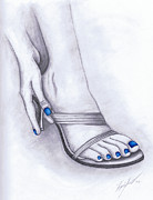 Pencil Sketch Mixed Media Prints - Blue Painted Toenails Print by Kamil Swiatek