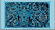 P Greeting Cards Greeting Cards Digital Art Prints - Blue Paisley Patterns  Print by Danielle  Parent
