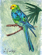 Blue Parakeet Print by Gail Daley