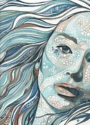 Liquid Painting Prints - Blue Pause Woman Print by Tamara Phillips