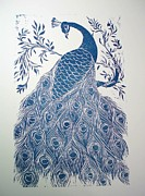 Pet Reliefs Metal Prints - Blue Peacock Metal Print by Barbara Anna Cichocka