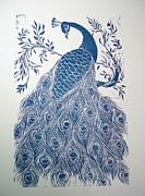 Blue Peacock Print by Barbara Anna Cichocka