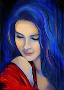 Debi Prints - Blue Pensive Print by Debi Pople