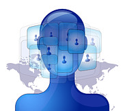 Future Tech Digital Art - Blue person with international friends on social media by Gino De Graaf
