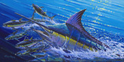 Black Marlin Framed Prints - Blue Persuader  Framed Print by Carey Chen