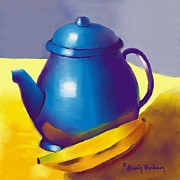 Banana Art Digital Art Posters - Blue Pitcher and Banana  Poster by Dessie Durham