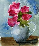 Roses Poppies Paintings - Blue Pitcher  by Anne Duke