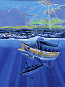 Striped Marlin Painting Posters - Blue Pitcher Poster by Carey Chen