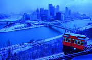 Duquesne Incline Metal Prints - Blue Pittsburgh Metal Print by Matt Matthews