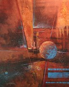 Outer Space Abstract Paintings - Blue Planet by Tom Shropshire