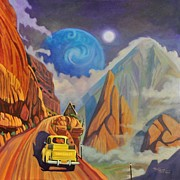 Planet Fantastic Prints - Blue Planet Yellow Truck Print by Art James West