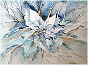 Joy Mixed Media Originals - Blue Poinsettia by Mindy Newman