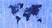 Pointillist Digital Art Metal Prints - Blue Pointillist World Map Metal Print by Hakon Soreide