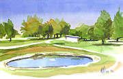 Lovely Pond Framed Prints - Blue Pond at the A V Country Club Framed Print by Kip DeVore