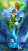Bouquet Mixed Media Posters - Blue Poppies In Poppy Vase Poster by Carol Cavalaris