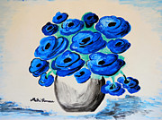 Poppies Art Gift Prints - Blue Poppies Print by Ramona Matei