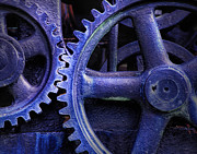Machinery Metal Prints - Blue Power Metal Print by David and Carol Kelly
