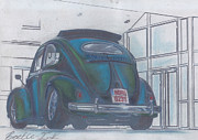 Historic Vehicle Pastels Prints - Blue print Print by Sharon Poulton