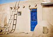 New Earth Posters - Blue Pueblo Door and Ladder Poster by Marilyn Hunt