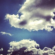 Photo  Paintings - Blue Puffy Clouds by Genevieve Esson