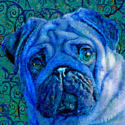 Pug Digital Art Posters - Blue Pug Poster by Jane Schnetlage
