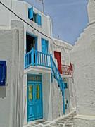 Blue Railing With Stairway In Mykonos Greece Print by M Bleichner