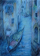 Umbrella Drawings Framed Prints - Blue rain of Venice Framed Print by Anna  Duyunova