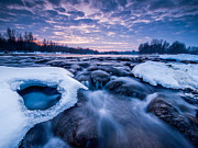 Blue Clouds Prints - Blue rapids Print by Davorin Mance