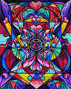 Geometric Painting Posters - Blue Ray Healing Poster by Teal Eye  Print Store