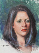 Red Lips Painting Originals - Blue Rebecca by Anna Bain