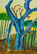 Veronica Rickard Prints - Blue Remembered Tree Print by Veronica Rickard