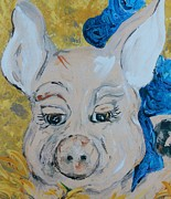 Child Paintings - Blue Ribbon Pig by Eloise Schneider