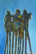 Cowgirl And Cowboy Painting Originals - Blue Riders by Lance Headlee