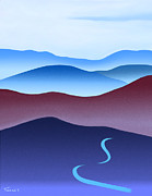 Catherine White Prints - Blue Ridge Blue Road Print by Catherine Twomey