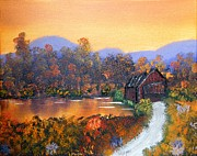 Covered Bridge Paintings - Blue Ridge Covered Bridge by Margaret G Calenda