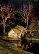 Mabry Framed Prints - Blue Ridge - Mabry Mill Painted at Night I Framed Print by Dan Carmichael